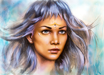 beautiful painting portrait of a young enchanting woman warrior