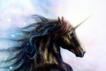 Horse, black unicorn in space, illustration abstract color backg