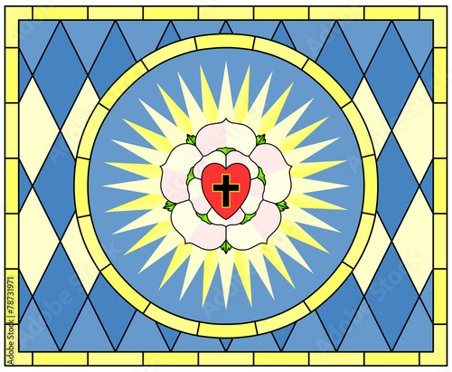Luther Rose Christian Symbol Stained Glass Stock Image And