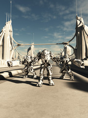 Scifi Illustration of Alien Battle Robots Defending a Bridge