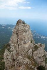 Orthodox cross on the top of mount Ai-Petri, Crimea