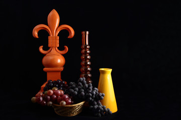 Fleur De Lis Still Life With Grapes