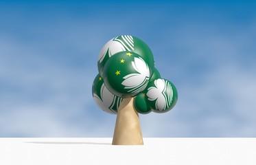 cartoon tree with spheres instead of leaves, macao
