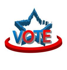 Grunge star design of American USA vote text logo vector