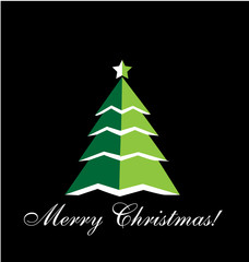 Christmas Tree greetings card black background vector