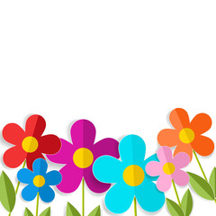 Color 3d flowers isolated on white. Vector EPS 10.