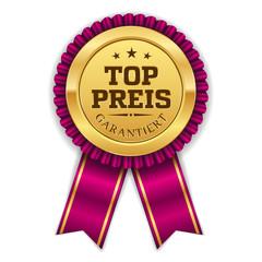Goldener Top Preis Siegel Mit Lila Scherpe