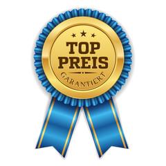 Goldener Top Preis Siegel Mit Blauer Scherpe