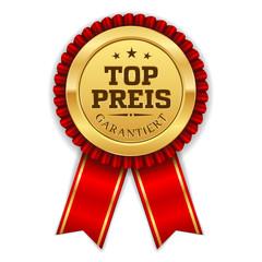 Goldener Top Preis Siegel Mit Roter Scherpe