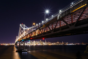 Fototapete - SF Bay Bridge at Night