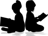 Children Reading Silhouette silhouette of a child reading a book at ... Children Reading Silhouette