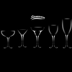 Icons glasses Wine, brandy, whiskey, martinis silhouette