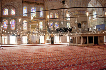 Interior of the Blue mosque in Istanbul