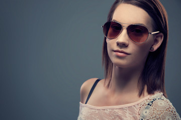 Advertising Beauty Close up Portrait of Female in Sunglasses