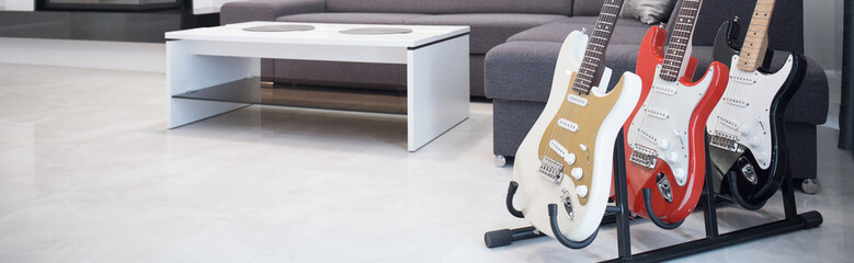 Electric guitars in living room