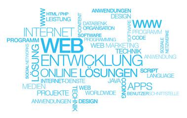 Web Entwicklung Online Lösungen Wort tag cloud illustration