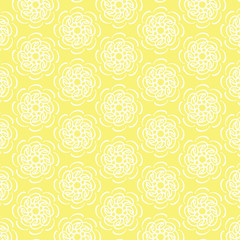 White line flower circular pattern on yellow background