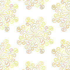 Colorful circular floral ornament on white background