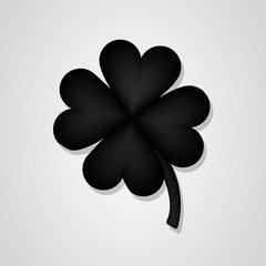 black 3D Clover flower isolated on white background