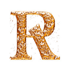 Golden alphabet letter R on white background