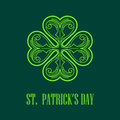 Vector Linear monogram Saint Patricks Day.