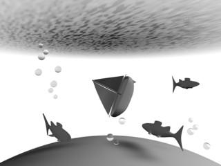Illustratie van bootje dat naar de bodem zinkt