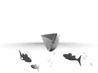 Illustratie van zinkende boot onder water