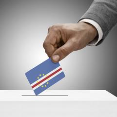 Black male holding flag. Voting concept - Cape Verde