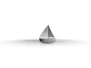 Abstracte zeilboot op open zee
