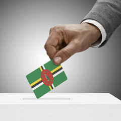 Black male holding flag. Voting concept - Dominica