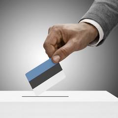 Black male holding flag. Voting concept - Estonia