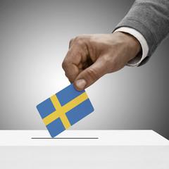 Black male holding flag. Voting concept - Sweden