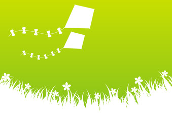 Green summer background with kites