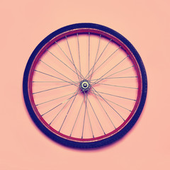 Vintage hipster photo bicycle wheel, abstract minimalism concept