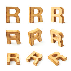 Set of nine block wooden letters isolated