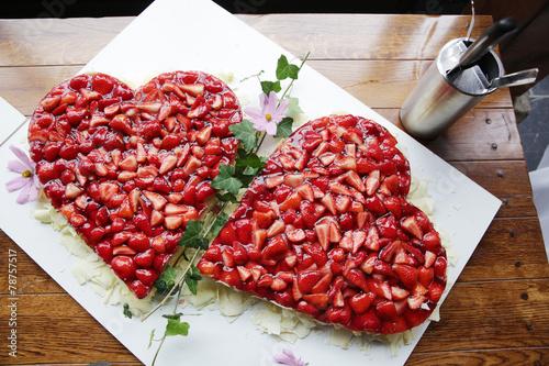 Herz erdbeer kuchen