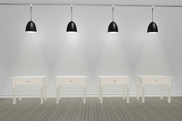 Room with lights and empty tables