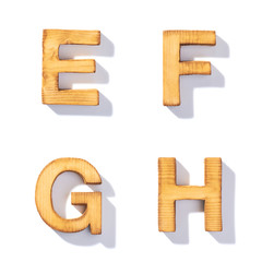 Brown wooden letter isolated