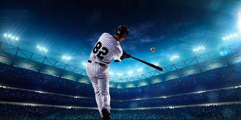 Professional baseball players on night grand arena Wall mural