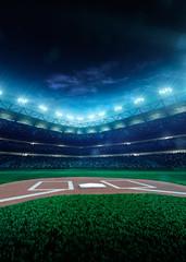 Professional baseball grand arena in night