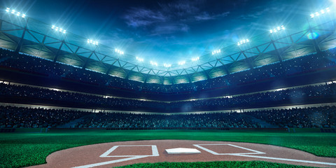 Professional baseball grand arena in night Wall mural