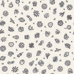 Light Seamless Pattern with Bacteria and Germs