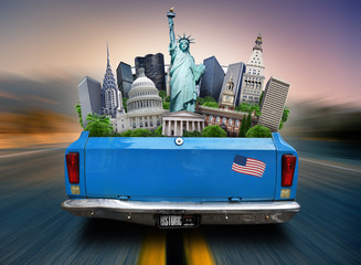 Aufkleber - USA, attractions USA in the trunk of a moving car