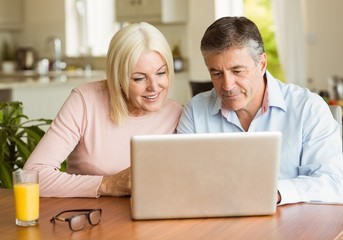 Happy mature couple using laptop