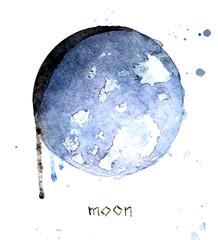 Watercolor moon greeting card