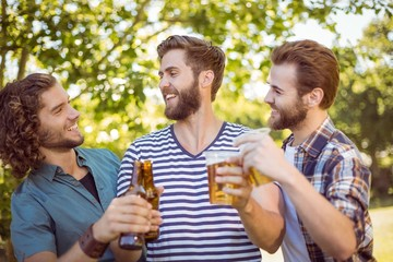 Hipster friends having a beer together