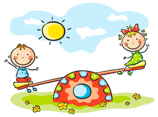 Wall Mural - Kids at the playground