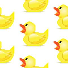 Pixel art rubber duck seamless patern