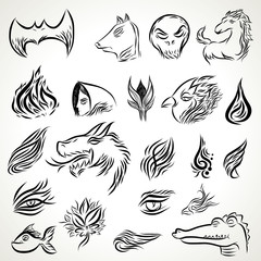 Patterns of tribal tattoo set