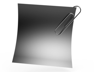 White paper note with metal clip
